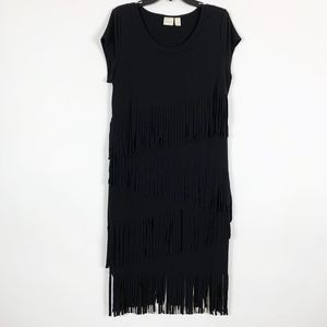 Chico's Dress Size 2 Large 12 Black Fringe
